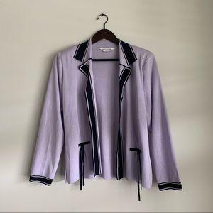 Misook Pastel Purple Collared Open Cardigan Medium